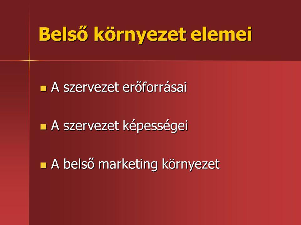 Belső környezet elemei  A szervezet erőforrásai  A szervezet képességei  A belső marketing környezet