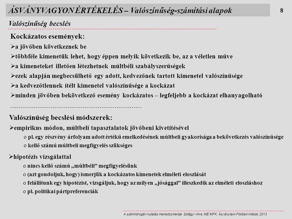 ÁSVÁNYVAGYON ÉRTÉKELÉS – Valószínűség-számítási alapok Valószínűség becslés 8 A szénhidrogén kutatás menedzsmentje. Szilágyi Imre, ME MFK, Ásványtani-