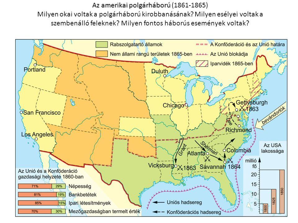 Az amerikai polgárháború Az amerikai polgárháború (1861-1865) Milyen okai voltak a polgárháború kirobbanásának.