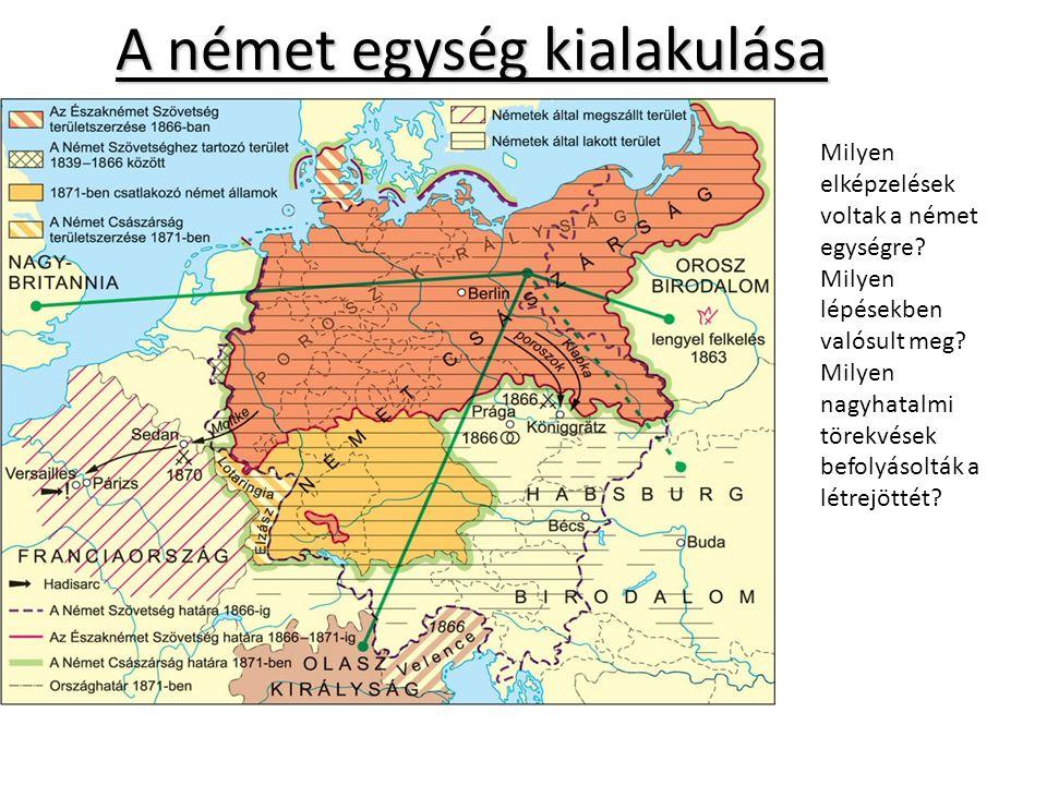 A német egység kialakulása Milyen elképzelések voltak a német egységre.