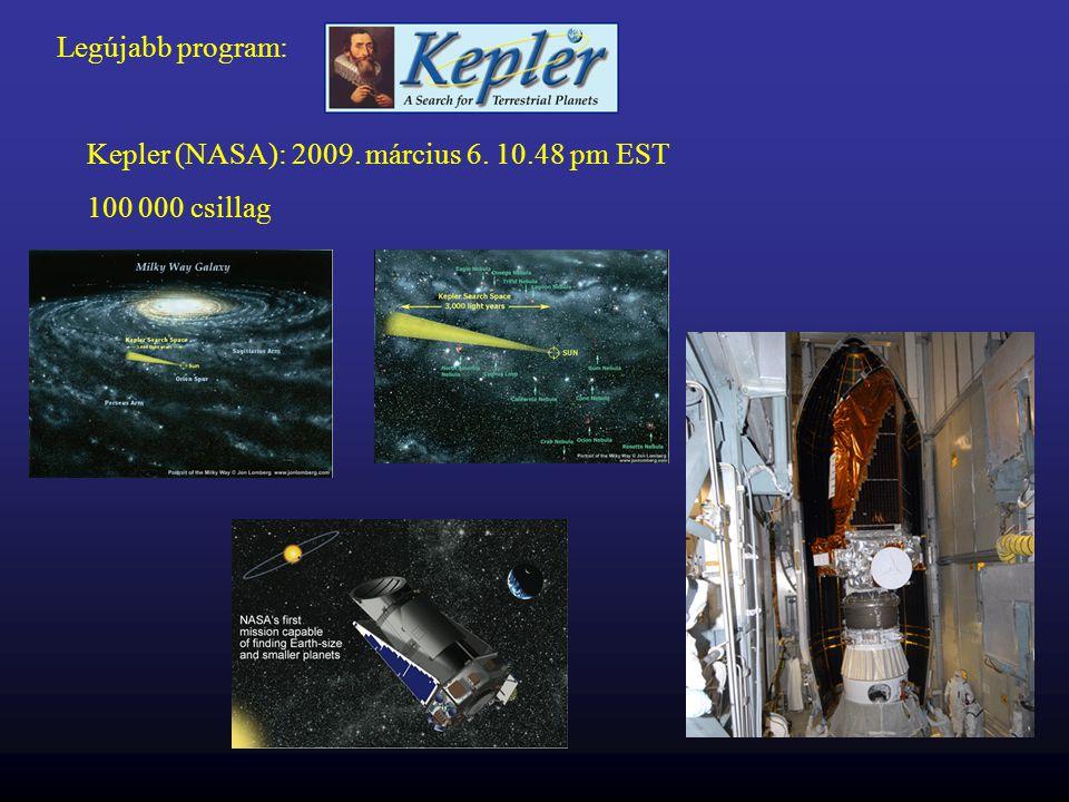 Legújabb program: Kepler (NASA): 2009. március 6. 10.48 pm EST 100 000 csillag
