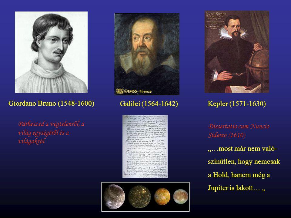 Giordano Bruno (1548-1600) Párbeszéd a végtelenről, a világ egységéről és a világokról Galilei (1564-1642)Kepler (1571-1630) Dissertatio cum Nuncio Si