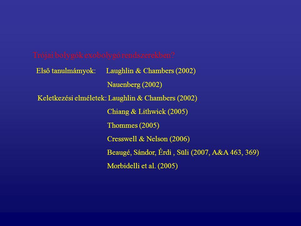 Trójai bolygók exobolygó rendszerekben? Első tanulmámyok: Laughlin & Chambers (2002) Nauenberg (2002) Keletkezési elméletek: Laughlin & Chambers (2002