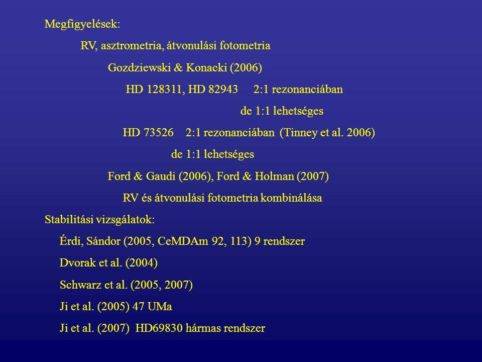Megfigyelések: RV, asztrometria, átvonulási fotometria Gozdziewski & Konacki (2006) HD 128311, HD 82943 2:1 rezonanciában de 1:1 lehetséges HD 73526 2