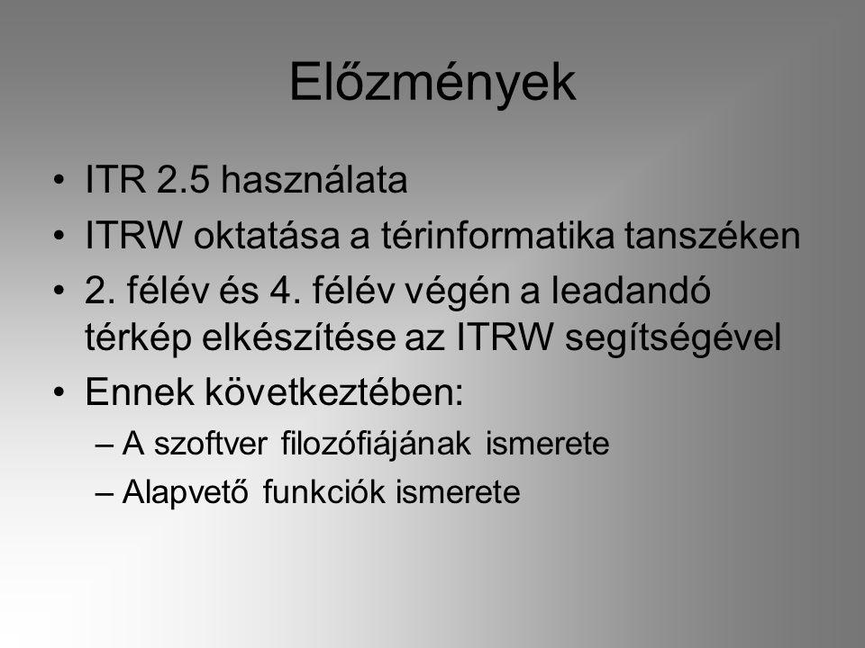 Előzmények •ITR 2.5 használata •ITRW oktatása a térinformatika tanszéken •2. félév és 4. félév végén a leadandó térkép elkészítése az ITRW segítségéve