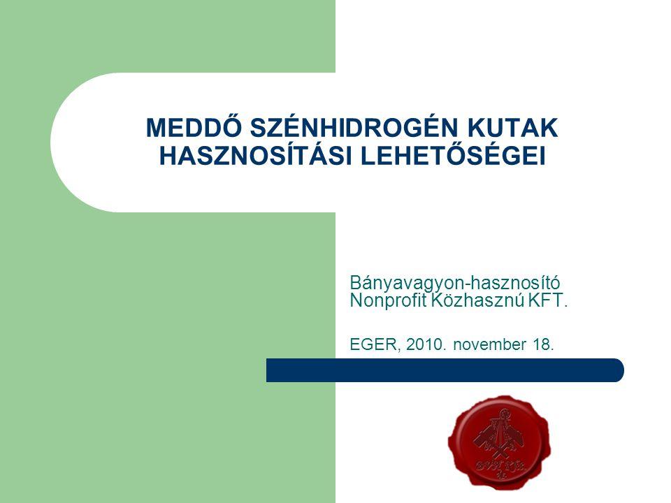 MEDDŐ SZÉNHIDROGÉN KUTAK HASZNOSÍTÁSI LEHETŐSÉGEI Bányavagyon-hasznosító Nonprofit Közhasznú KFT. EGER, 2010. november 18.