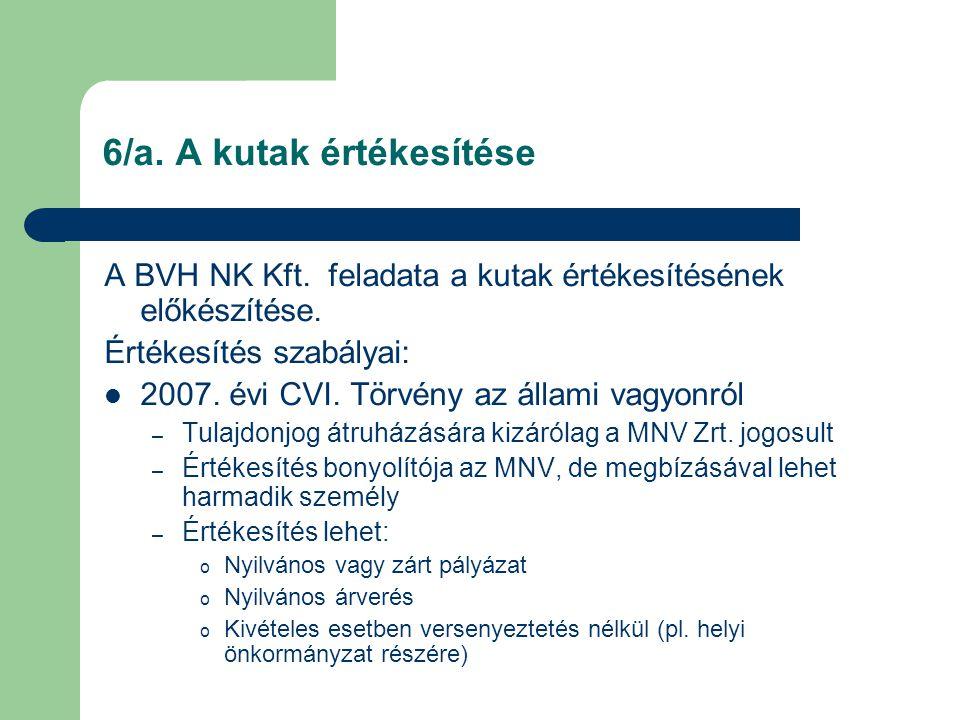 6/a. A kutak értékesítése A BVH NK Kft. feladata a kutak értékesítésének előkészítése. Értékesítés szabályai:  2007. évi CVI. Törvény az állami vagyo