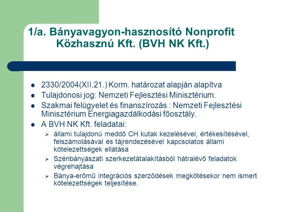 1/a. Bányavagyon-hasznosító Nonprofit Közhasznú Kft. (BVH NK Kft.)  2330/2004(XII.21.) Korm. határozat alapján alapítva  Tulajdonosi jog: Nemzeti Fe
