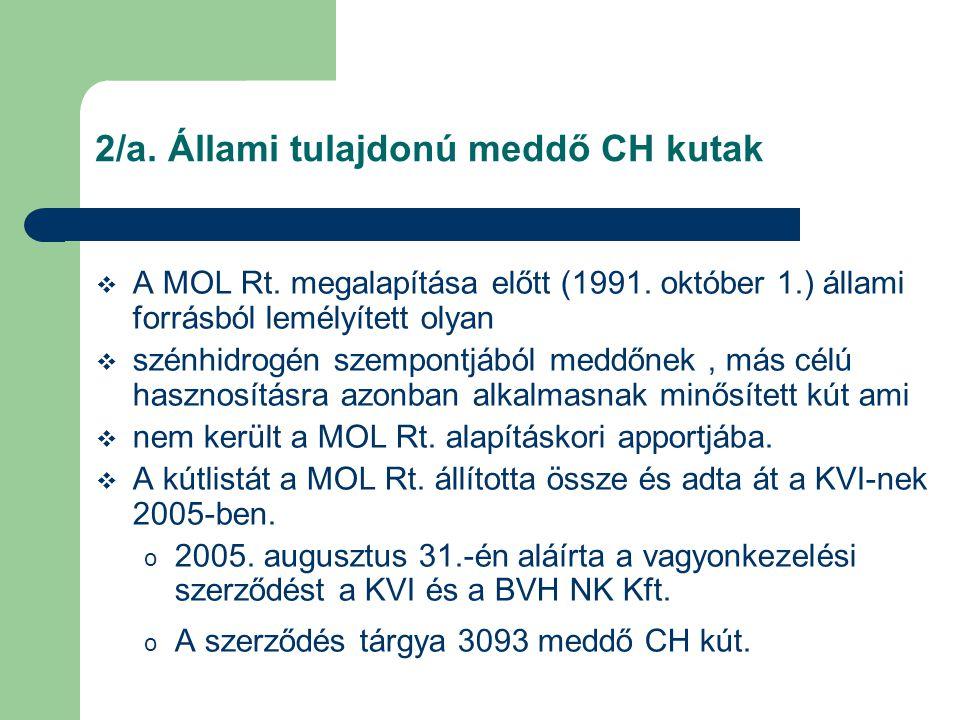 2/a. Állami tulajdonú meddő CH kutak  A MOL Rt. megalapítása előtt (1991. október 1.) állami forrásból lemélyített olyan  szénhidrogén szempontjából