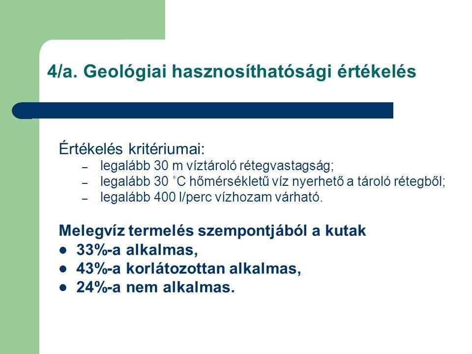 4/a. Geológiai hasznosíthatósági értékelés Értékelés kritériumai: – legalább 30 m víztároló rétegvastagság; – legalább 30 ˚C hőmérsékletű víz nyerhető