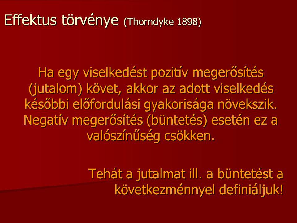 Effektus törvénye (Thorndyke 1898) Ha egy viselkedést pozitív megerősítés (jutalom) követ, akkor az adott viselkedés későbbi előfordulási gyakorisága
