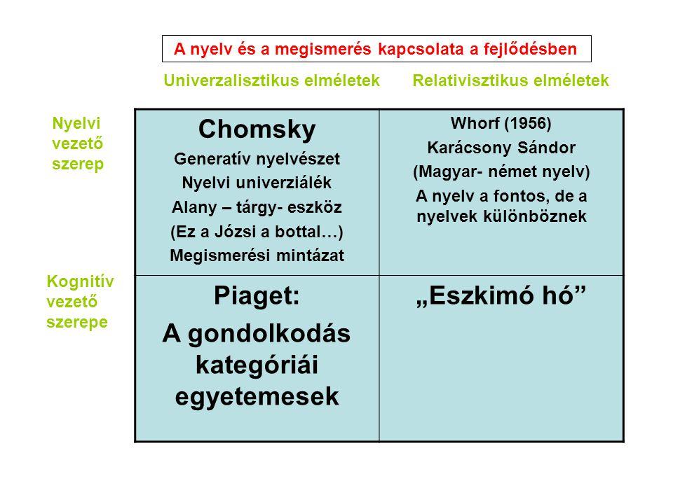 Chomsky Generatív nyelvészet Nyelvi univerziálék Alany – tárgy- eszköz (Ez a Józsi a bottal…) Megismerési mintázat Whorf (1956) Karácsony Sándor (Magy