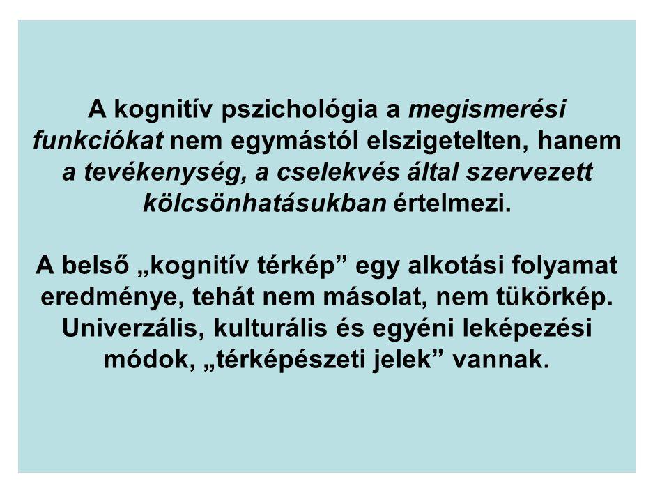A kognitív pszichológia a megismerési funkciókat nem egymástól elszigetelten, hanem a tevékenység, a cselekvés által szervezett kölcsönhatásukban érte