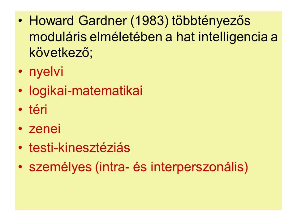 •Howard Gardner (1983) többtényezős moduláris elméletében a hat intelligencia a következő; •nyelvi •logikai-matematikai •téri •zenei •testi-kinesztézi