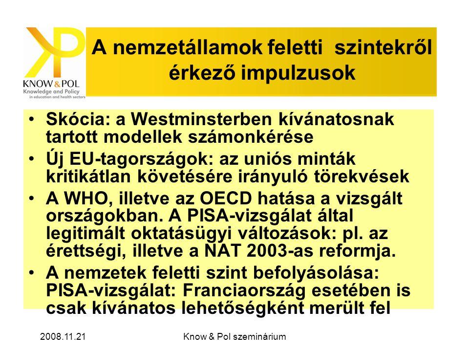 2008.11.21Know & Pol szeminárium A nemzetállamok feletti szintekről érkező impulzusok •Skócia: a Westminsterben kívánatosnak tartott modellek számonkérése •Új EU-tagországok: az uniós minták kritikátlan követésére irányuló törekvések •A WHO, illetve az OECD hatása a vizsgált országokban.