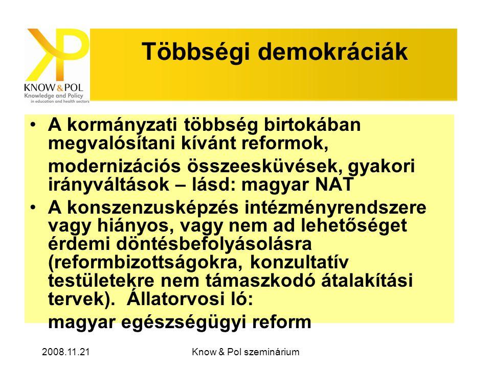 2008.11.21Know & Pol szeminárium Többségi demokráciák •A kormányzati többség birtokában megvalósítani kívánt reformok, modernizációs összeesküvések, gyakori irányváltások – lásd: magyar NAT •A konszenzusképzés intézményrendszere vagy hiányos, vagy nem ad lehetőséget érdemi döntésbefolyásolásra (reformbizottságokra, konzultatív testületekre nem támaszkodó átalakítási tervek).