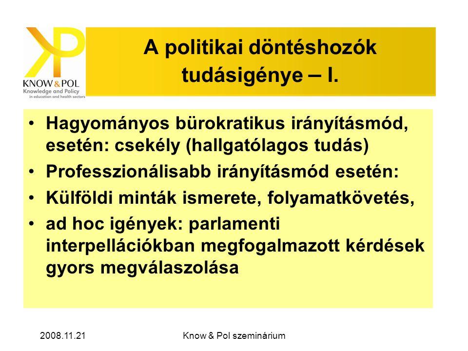 2008.11.21Know & Pol szeminárium A politikai döntéshozók tudásigénye – I.
