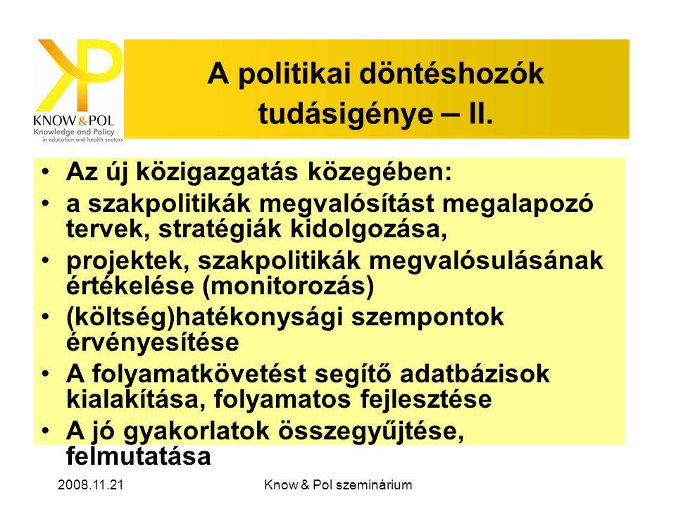 2008.11.21Know & Pol szeminárium A politikai döntéshozók tudásigénye – II.