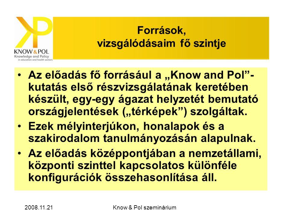 """2008.11.21Know & Pol szeminárium Források, vizsgálódásaim fő szintje •Az előadás fő forrásául a """"Know and Pol - kutatás első részvizsgálatának keretében készült, egy-egy ágazat helyzetét bemutató országjelentések (""""térképek ) szolgáltak."""