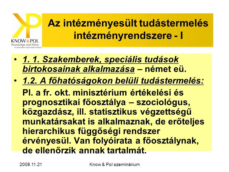 2008.11.21Know & Pol szeminárium Az intézményesült tudástermelés intézményrendszere - I •1.