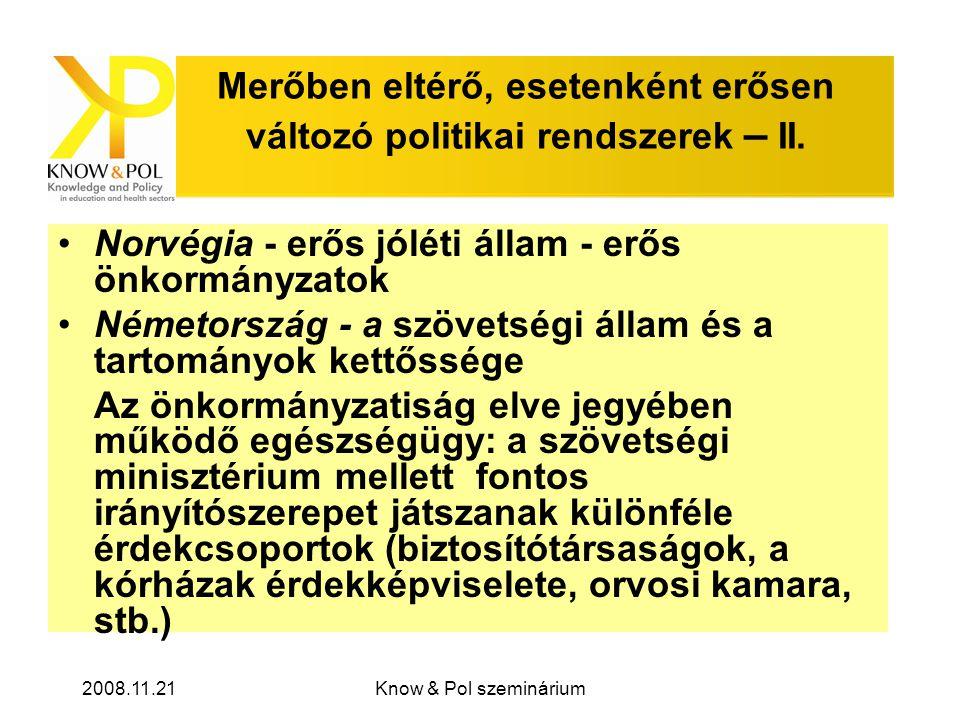 2008.11.21Know & Pol szeminárium Merőben eltérő, esetenként erősen változó politikai rendszerek – II.