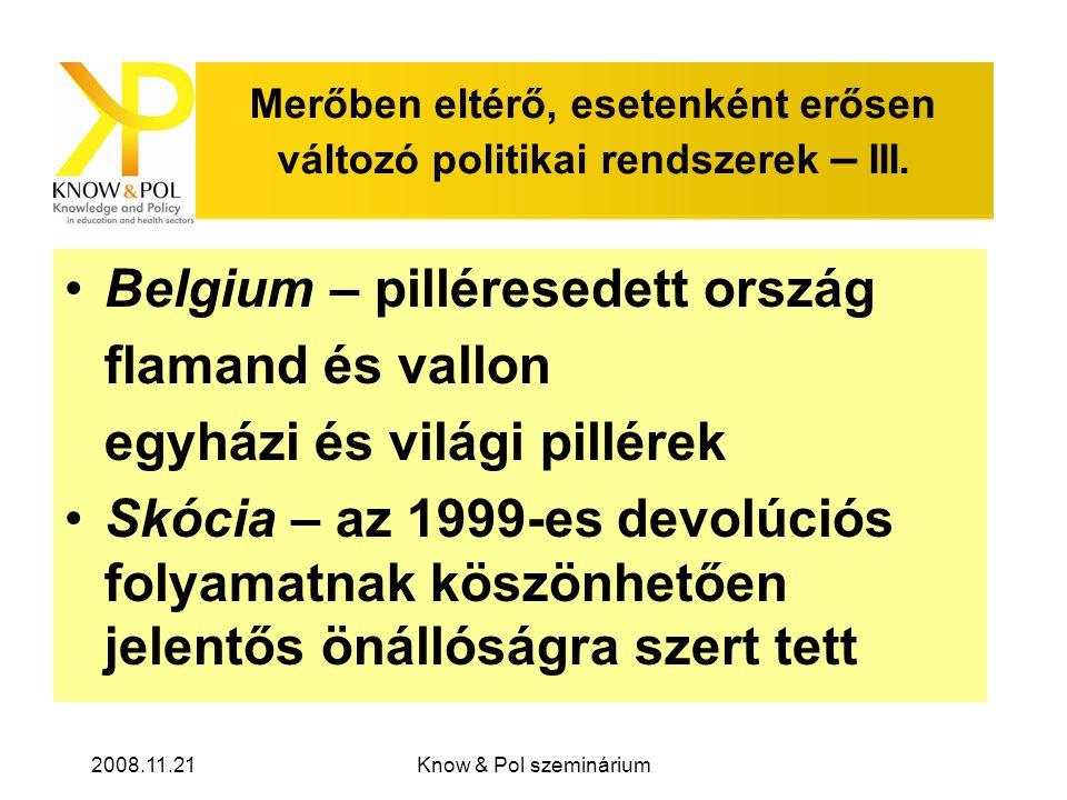 2008.11.21Know & Pol szeminárium Merőben eltérő, esetenként erősen változó politikai rendszerek – III.