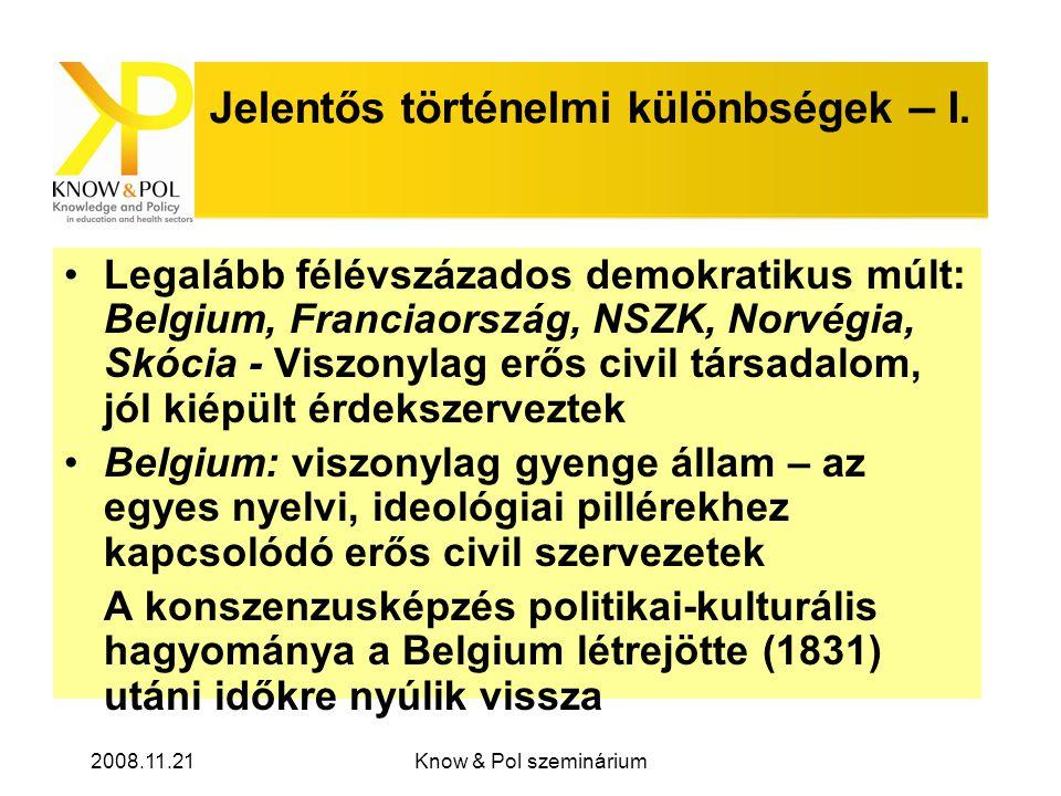 2008.11.21Know & Pol szeminárium Jelentős történelmi különbségek – I.