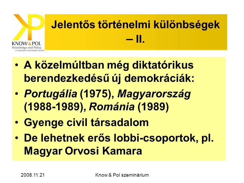 2008.11.21Know & Pol szeminárium Jelentős történelmi különbségek – II.