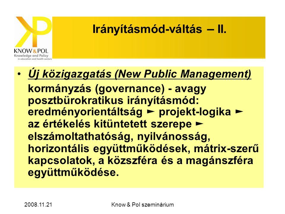 2008.11.21Know & Pol szeminárium Irányításmód-váltás – II.