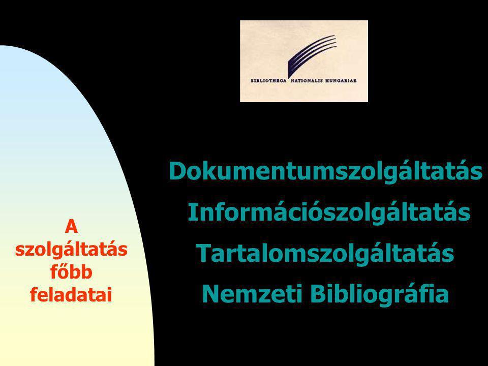 Dokumentumszolgáltatás Információszolgáltatás Tartalomszolgáltatás Nemzeti Bibliográfia A szolgáltatás főbb feladatai