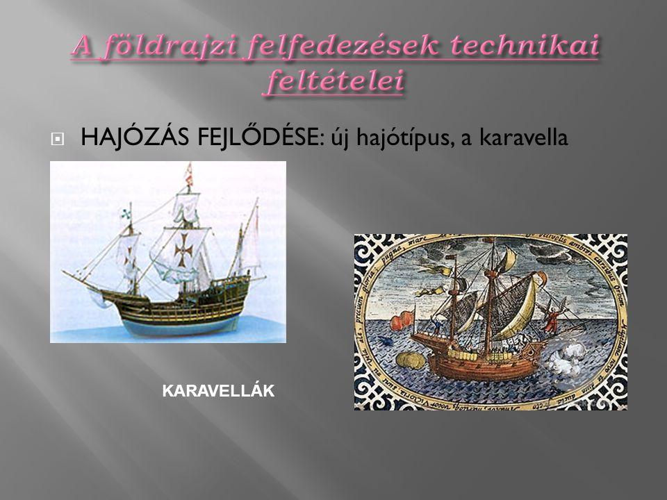  HAJÓZÁS FEJLŐDÉSE: új hajótípus, a karavella megjelenése KARAVELLÁK