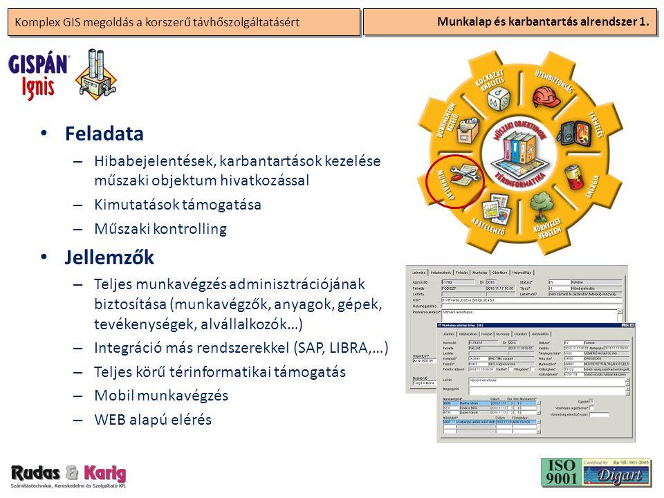 Komplex GIS megoldás a korszerű távhőszolgáltatásért Munkalap és karbantartás alrendszer 1. • Feladata – Hibabejelentések, karbantartások kezelése műs