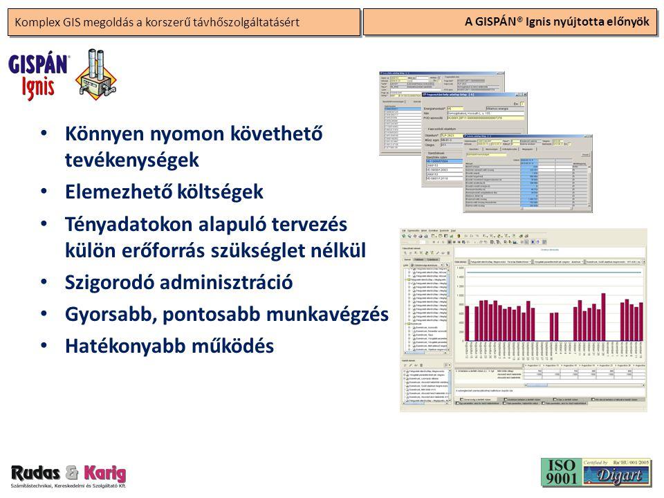 Komplex GIS megoldás a korszerű távhőszolgáltatásért A GISPÁN® Ignis nyújtotta előnyök • Könnyen nyomon követhető tevékenységek • Elemezhető költségek • Tényadatokon alapuló tervezés külön erőforrás szükséglet nélkül • Szigorodó adminisztráció • Gyorsabb, pontosabb munkavégzés • Hatékonyabb működés