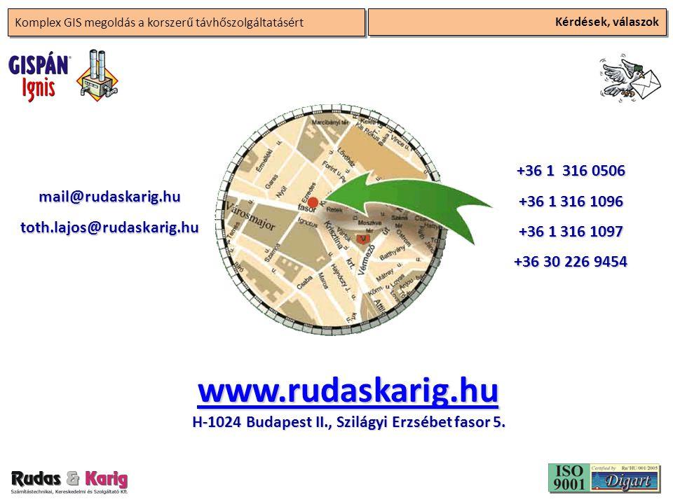 Komplex GIS megoldás a korszerű távhőszolgáltatásért Kérdések, válaszok +36 1 316 0506 +36 1 316 1096 +36 1 316 1097 +36 30 226 9454 mail@rudaskarig.hutoth.lajos@rudaskarig.hu www.rudaskarig.hu H-1024 Budapest II., Szilágyi Erzsébet fasor 5.