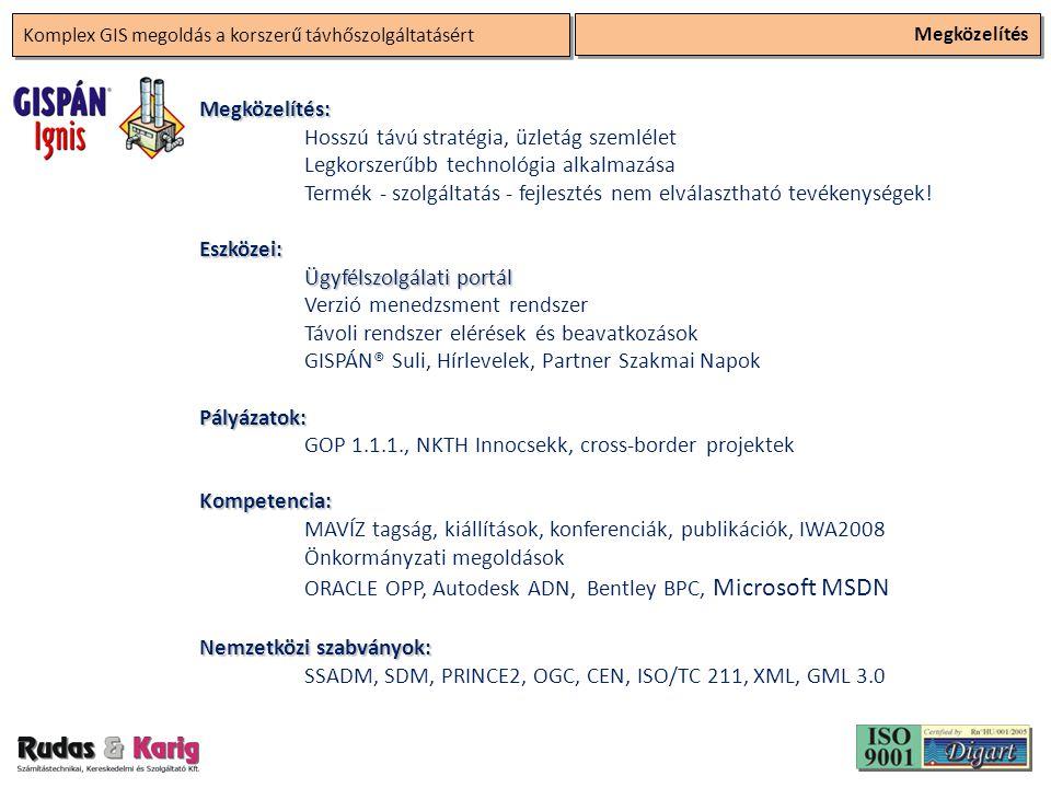 Komplex GIS megoldás a korszerű távhőszolgáltatásért Megközelítés Megközelítés: Hosszú távú stratégia, üzletág szemlélet Legkorszerűbb technológia alkalmazása Termék - szolgáltatás - fejlesztés nem elválasztható tevékenységek!Eszközei: Ügyfélszolgálati portál Verzió menedzsment rendszer Távoli rendszer elérések és beavatkozások GISPÁN® Suli, Hírlevelek, Partner Szakmai NapokPályázatok: GOP 1.1.1., NKTH Innocsekk, cross-border projektekKompetencia: MAVÍZ tagság, kiállítások, konferenciák, publikációk, IWA2008 Önkormányzati megoldások ORACLE OPP, Autodesk ADN, Bentley BPC, Microsoft MSDN Nemzetközi szabványok: SSADM, SDM, PRINCE2, OGC, CEN, ISO/TC 211, XML, GML 3.0
