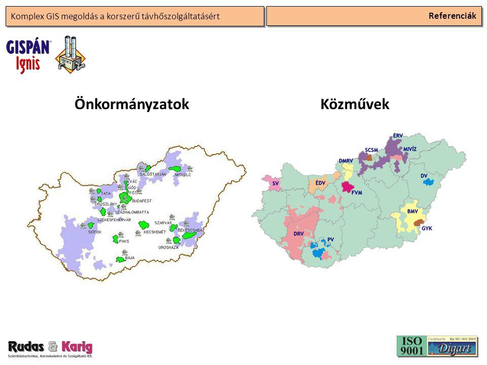 Komplex GIS megoldás a korszerű távhőszolgáltatásért Referenciák ÖnkormányzatokKözművek
