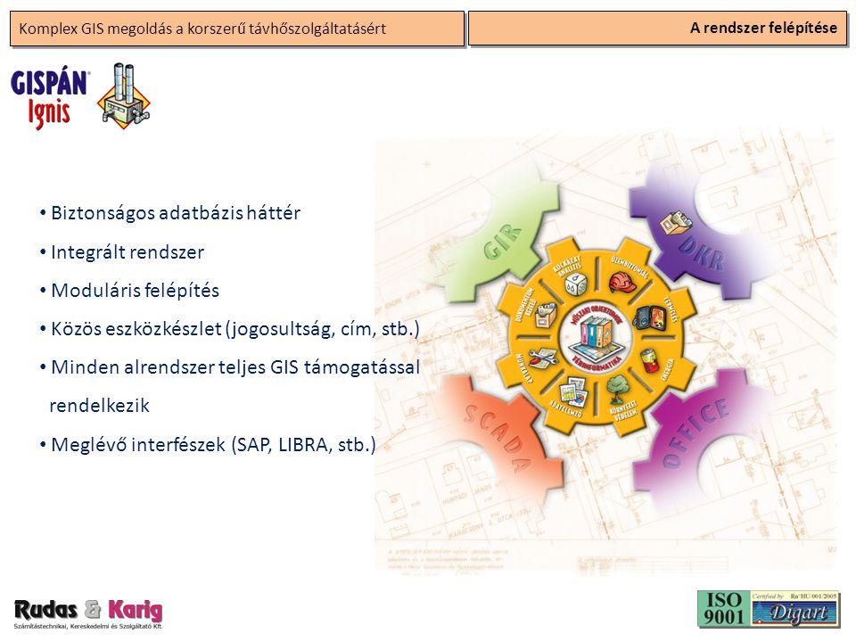 Komplex GIS megoldás a korszerű távhőszolgáltatásért A rendszer felépítése • Biztonságos adatbázis háttér • Integrált rendszer • Moduláris felépítés •