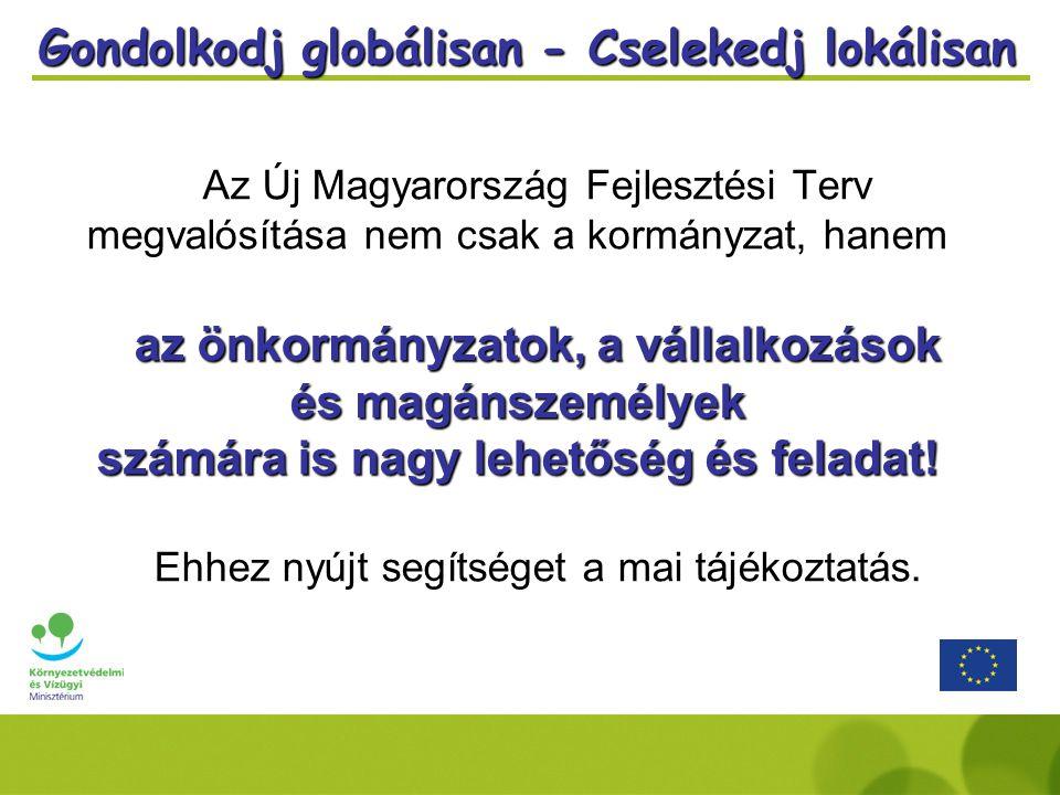 Gondolkodj globálisan - Cselekedj lokálisan Az Új Magyarország Fejlesztési Terv megvalósítása nem csak a kormányzat, hanem az önkormányzatok, a vállalkozások és magánszemélyek számára is nagy lehetőség és feladat.