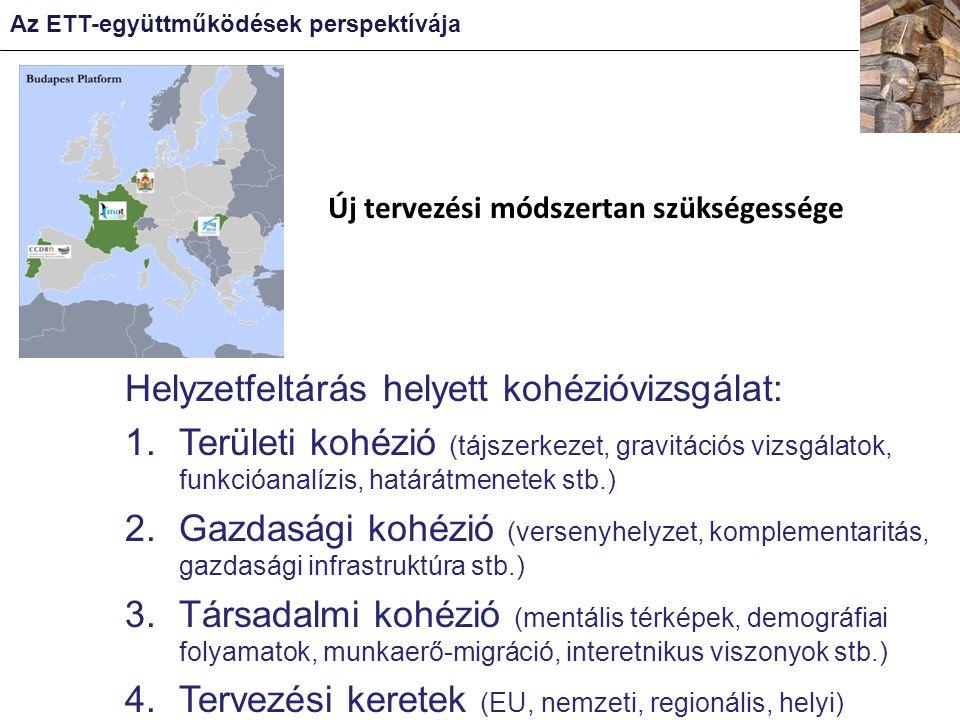 Új tervezési módszertan szükségessége Az ETT-együttműködések perspektívája Helyzetfeltárás helyett kohézióvizsgálat: 1.Területi kohézió (tájszerkezet, gravitációs vizsgálatok, funkcióanalízis, határátmenetek stb.) 2.Gazdasági kohézió (versenyhelyzet, komplementaritás, gazdasági infrastruktúra stb.) 3.Társadalmi kohézió (mentális térképek, demográfiai folyamatok, munkaerő-migráció, interetnikus viszonyok stb.) 4.Tervezési keretek (EU, nemzeti, regionális, helyi)