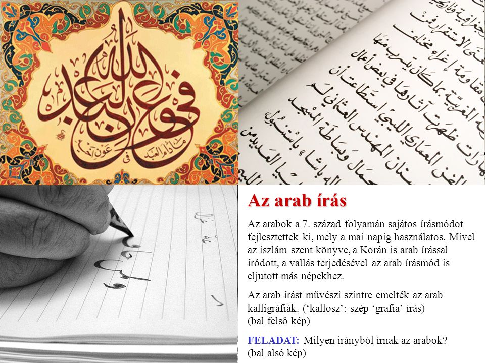 Az arab írás Az arabok a 7.