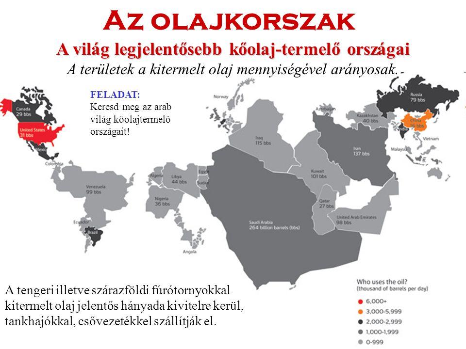 A világ legjelentősebb kőolaj-termelő országai A területek a kitermelt olaj mennyiségével arányosak.