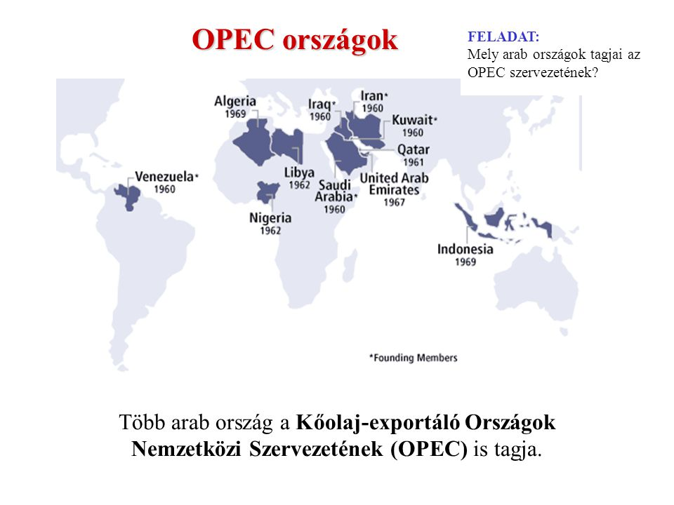 OPEC országok Több arab ország a Kőolaj-exportáló Országok Nemzetközi Szervezetének (OPEC) is tagja.
