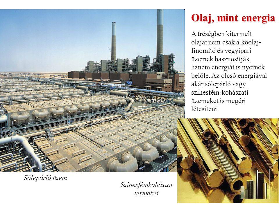 Olaj, mint energia A tréségben kitermelt olajat nem csak a kőolaj- finomító és vegyipari üzemek hasznosítják, hanem energiát is nyernek belőle.