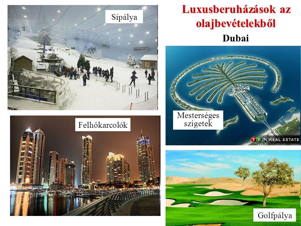 Luxusberuházások az olajbevételekből Felhőkarcolók Sípálya Mesterséges szigetek Golfpálya Dubai
