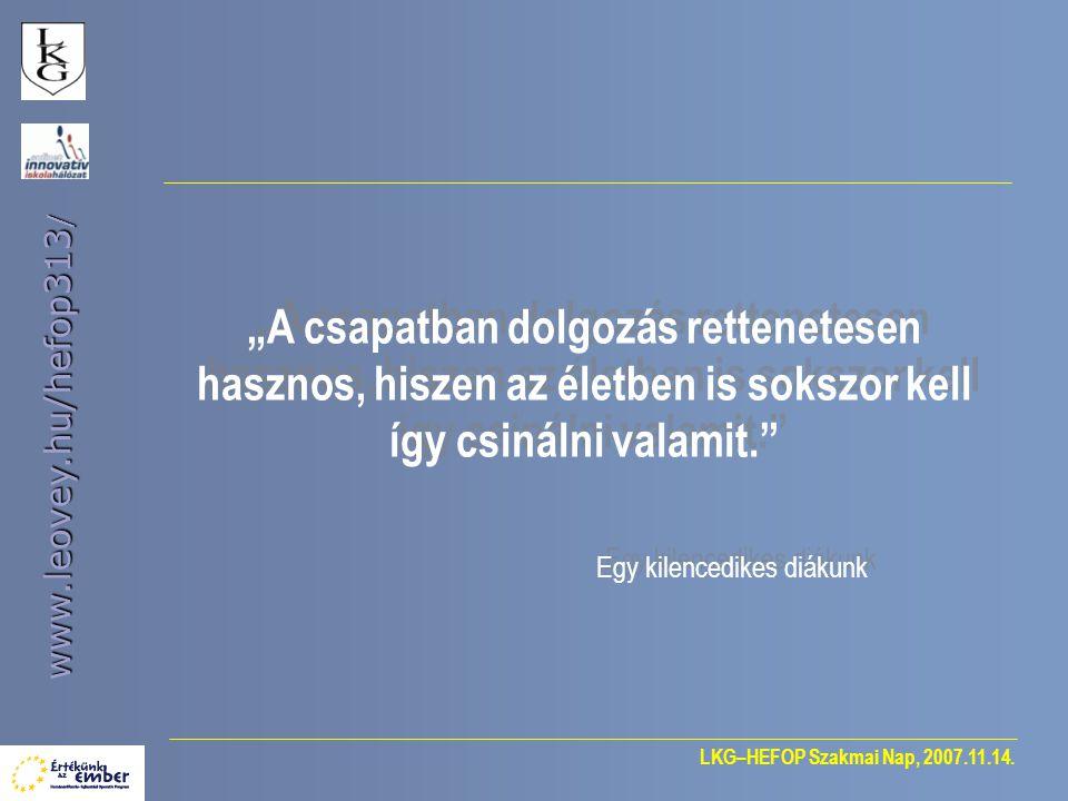 """LKG–HEFOP Szakmai Nap, 2007.11.14. www.leovey.hu/hefop313 / """"A csapatban dolgozás rettenetesen hasznos, hiszen az életben is sokszor kell így csinálni"""