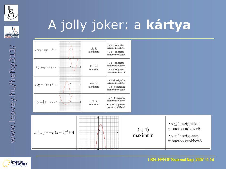 LKG–HEFOP Szakmai Nap, 2007.11.14. www.leovey.hu/hefop313 / A jolly joker: a kártya