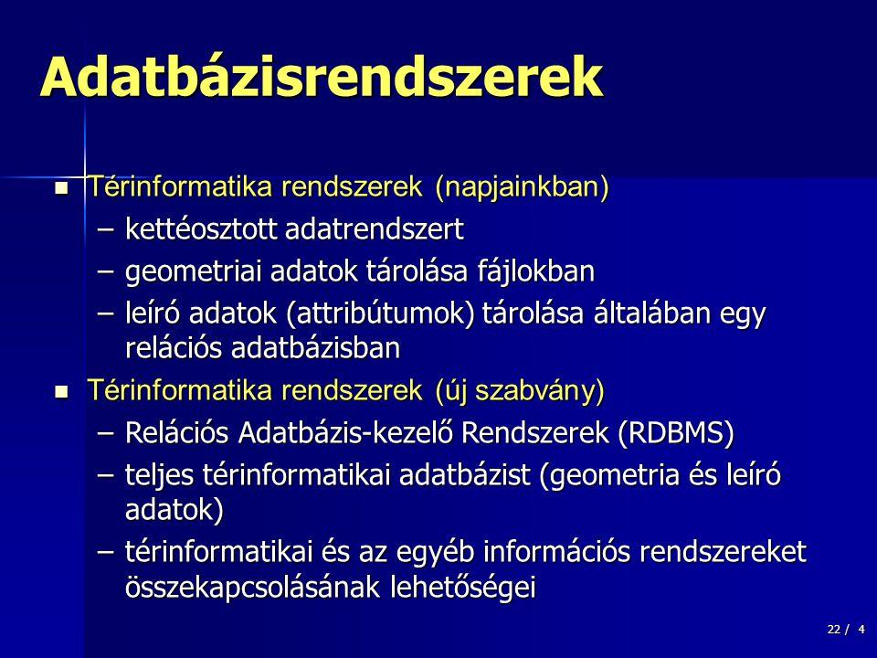 22 /15 Funkcionális modell  Relációs Adatbázis-kezelő Rendszerek  Hiearhikus adatmodell  Legkisebb egység - objektum Üzemeltető->Vízműrendszer->nyomászóna->Vízellátási zóna azonosító