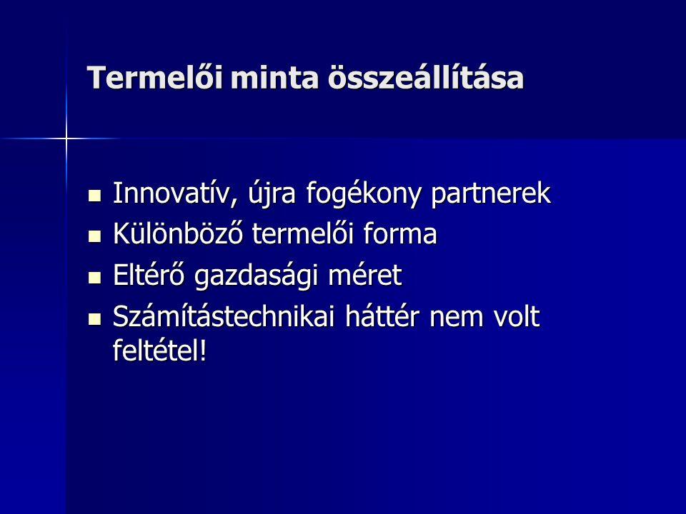 Termelői minta összeállítása  Innovatív, újra fogékony partnerek  Különböző termelői forma  Eltérő gazdasági méret  Számítástechnikai háttér nem volt feltétel!