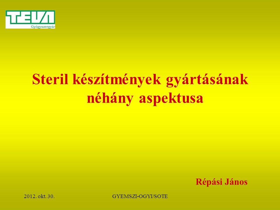 2012. okt. 30.GYEMSZI-OGYI/SOTE Steril készítmények gyártásának néhány aspektusa Répási János
