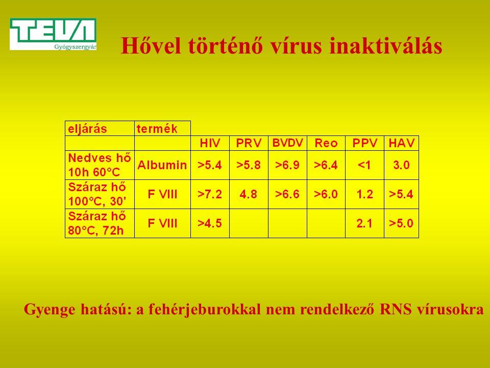 Hővel történő vírus inaktiválás Gyenge hatású: a fehérjeburokkal nem rendelkező RNS vírusokra